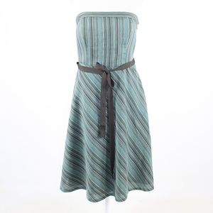 Blue green striped ANN TAYLOR LOFT  dress 6